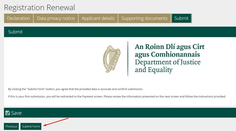 renovar la tarjeta de inmigracion irlandesa gnib o irp enviar formulario