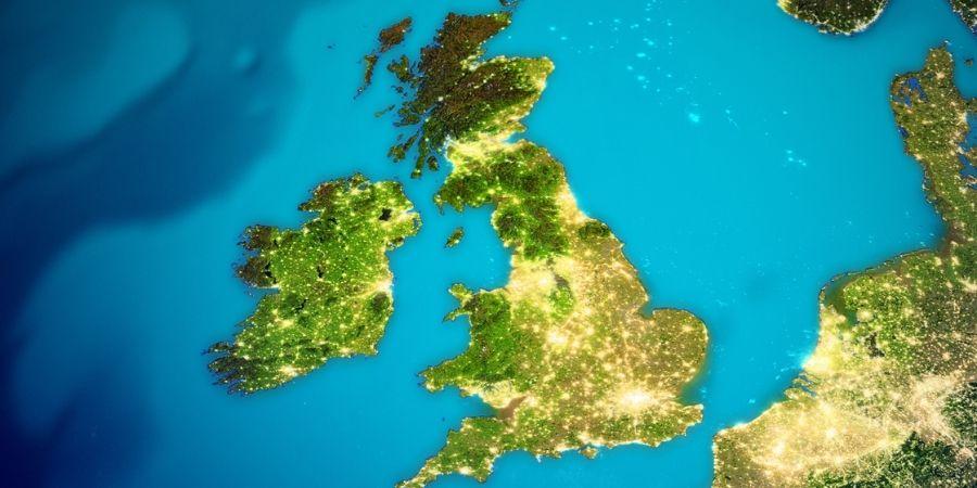 Vista Satelital del Mapa Irlanda y Reino Unido