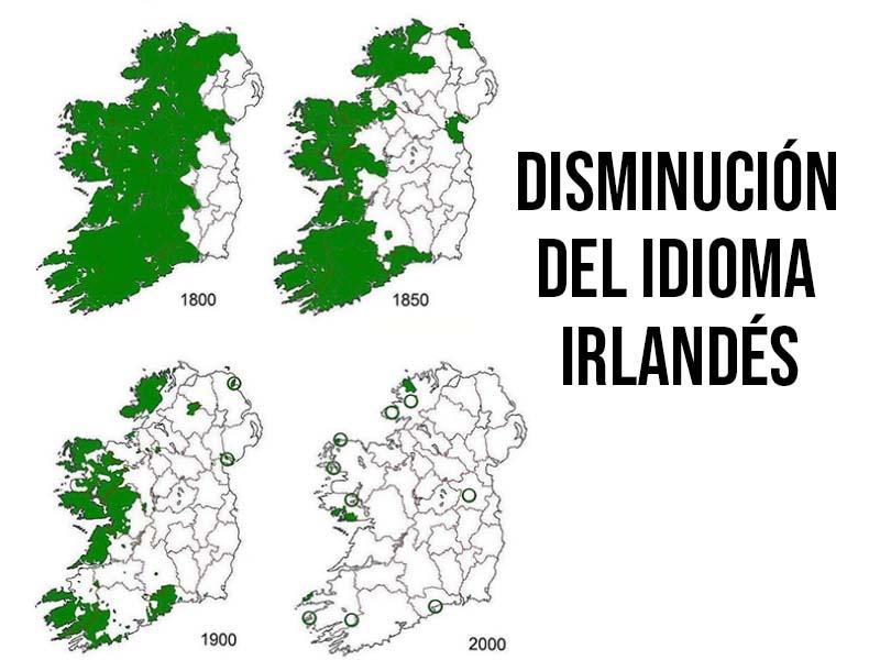 mapa de irlanda del idioma irlandés