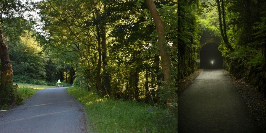 Senderos y túnel en la vía verde en Waterford