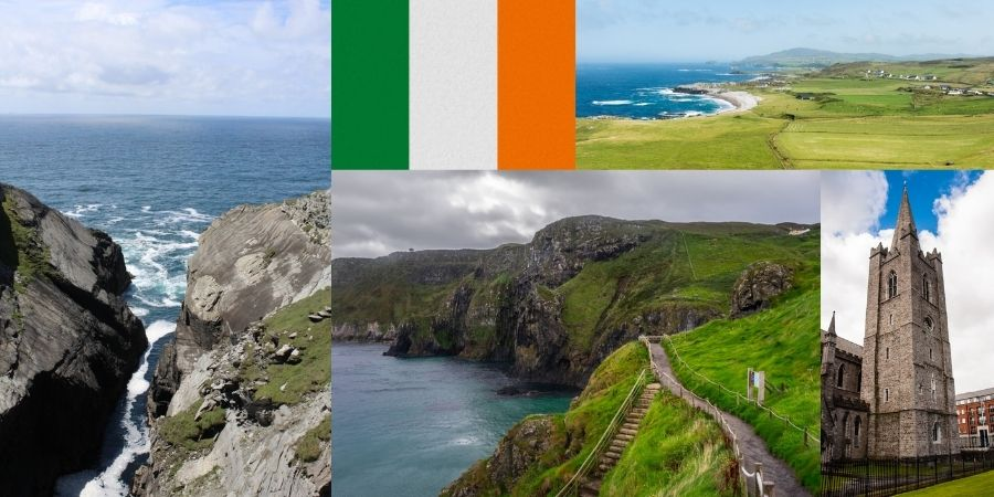 Collage de Irlanda con su Bandera