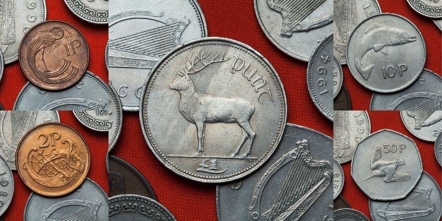 Variedad de Monedas de Libras Irlandesas