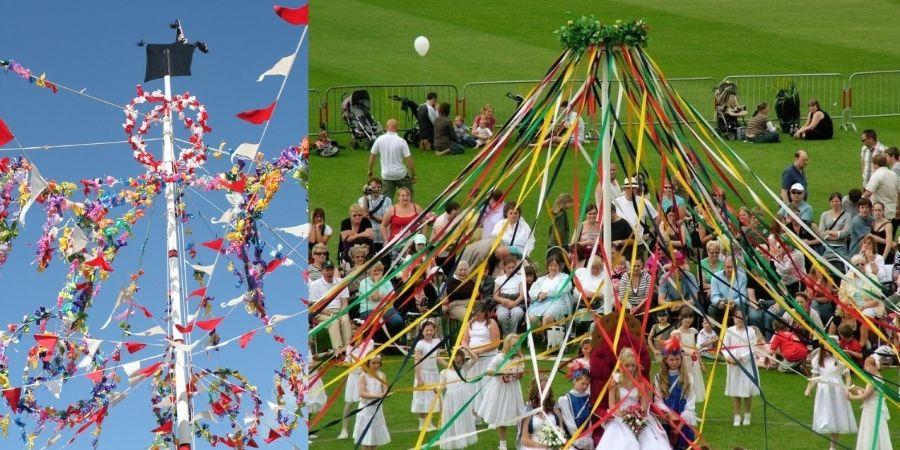 Postes adornados, coloridos y tradicionales bailes en la celebración de mayo