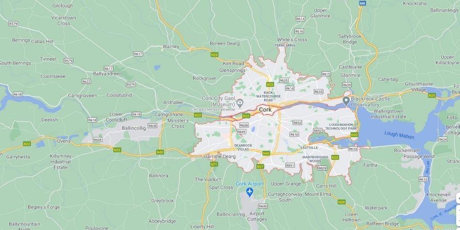Mapa de Cork con sus nombres