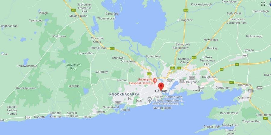 Mapa de Galway con sus carreteras en Irlanda