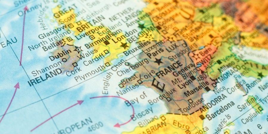 Mapa de Irlanda en el Continente Europeo