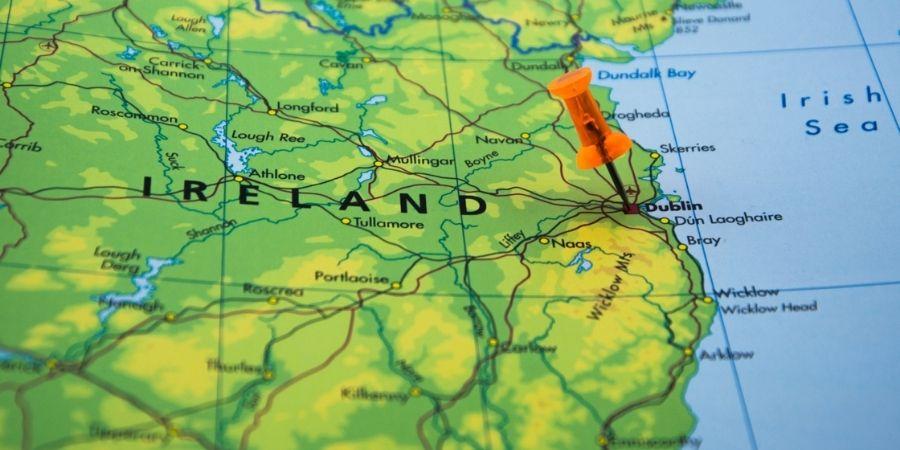 Vista del Mapa de Irlanda resaltando a Dublín