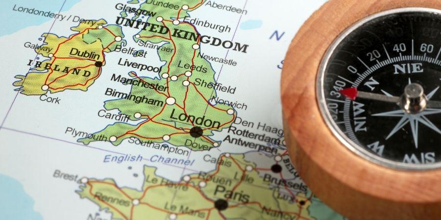 Mapa de Irlanda del Reino Unido y del Sur