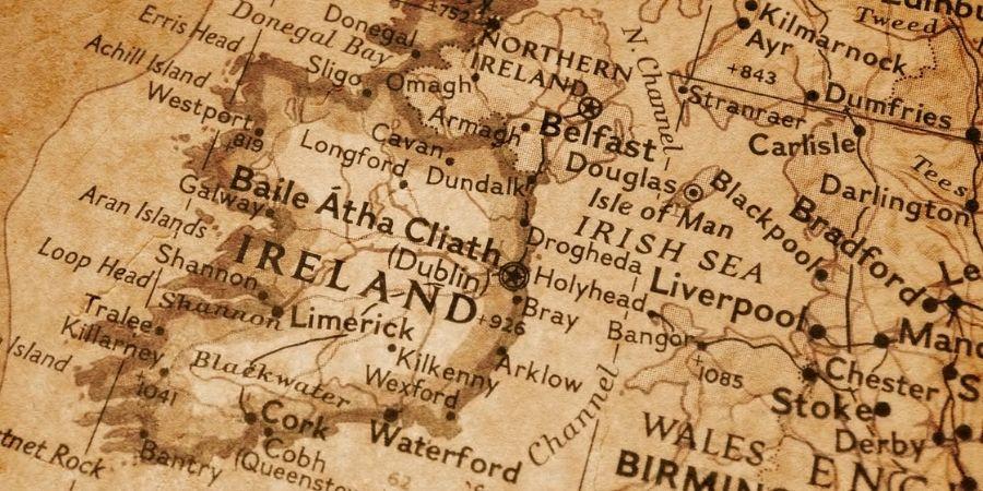Mapa de la Actual Isla de la República de Irlanda