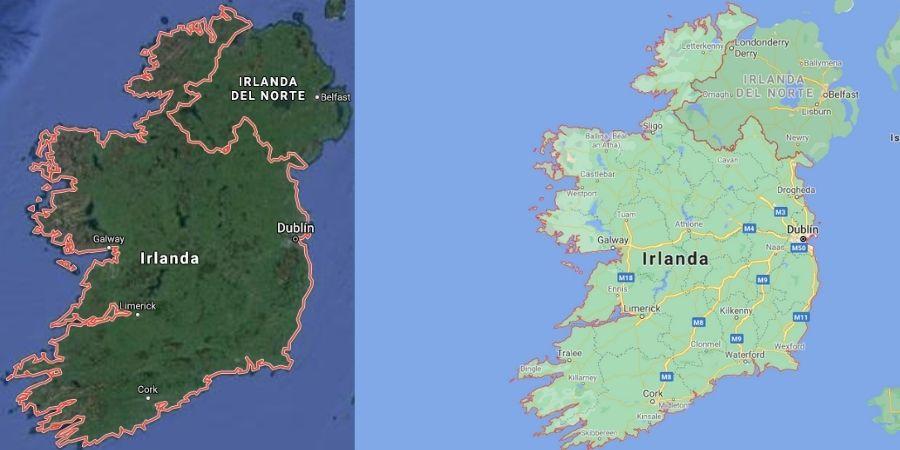 Mapa de Irlanda del Norte y del Sur