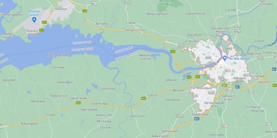 Mapa de Limerick en Irlanda del Sur