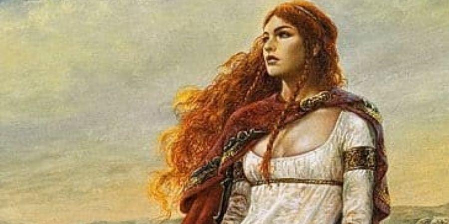 Las mujeres en la antiggua celta solian llevar tunica largas y mantos en sus hombros.