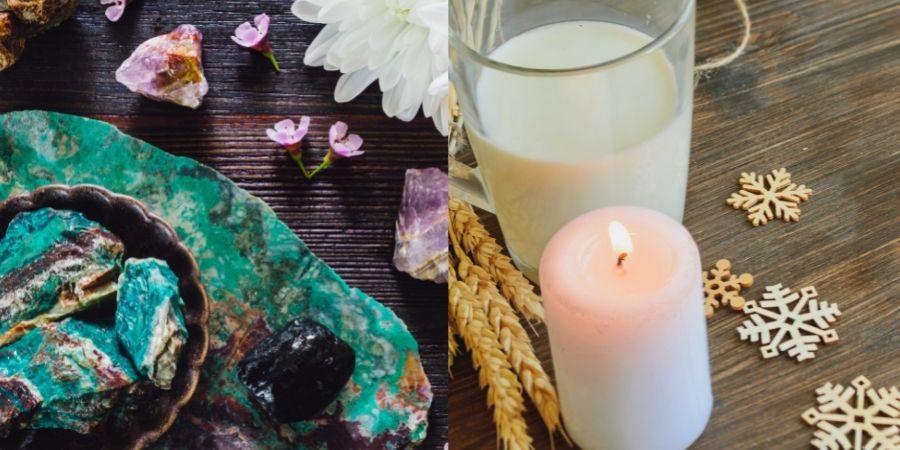 La velas, un Vaso de leche y los cuarzos son gran tradición de Fiesta de Imbolc